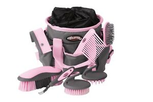 Horse Grooming Set Brush Gray Pink Weaver Leather Comb Hoof Pick Mane Tail New