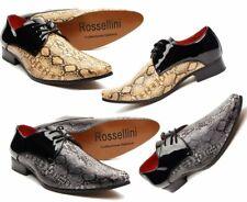 Men's 2 Tono Beige/Negro Imitación Serpiente Patente Con Cordones Zapatos para hombre inteligente (retalino)