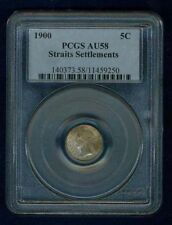 STRAITS SETTLEMENTS  1900  5 CENTS SILVER COIN, PCGS CERTIFIED AU58