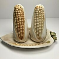 Vintage Corn on the Cob Salt & Pepper Shakers With Tray Plate Japan