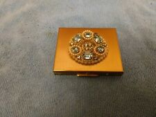VINTAGE WIESNER OF MIAMI TRICKETTES COMPACT WITH BLUE RHINESTONES & PEARLS