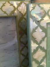 Last Ones!  Decorative Beach Chic Modern MOP Turquoise Green FRAMES *New