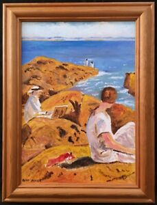 20th Century English School Oil on Board Figurative Painting. Signed.