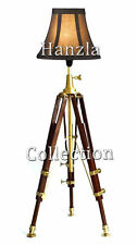 Nautical Beautiful Home Decor Wooden Tripod Brown Stand Floor Lamp Shade Lamp