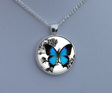 / Jewelry Charm / Gifts for Her Blue Butterfly Necklace / Silver Picture Pendant