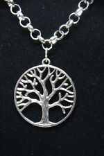 """Tree of Life Themed Pewter Pendant Rhodium Chain Necklace 18"""" Druids Celts Trees"""