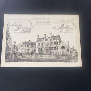 1879 Building News Johnson Hospital Spalding Antique Architecture