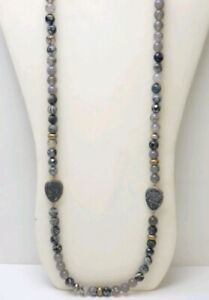 SILPADA 'ODE TO GEODE' NATURAL AGATE, DRUZY & HEMATITE NECKLACE IN 925 STERLING