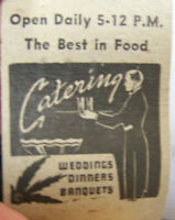 Vintage Matchbook S6 Waukesha Wisconsin Marie Hendry's Carlton Club Catering