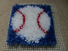 Completed latch hook cushion cover (Baseball)