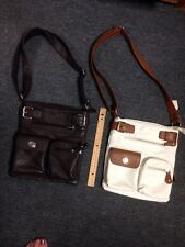 Lot Of 2 Clarks Purse Hand Bag Brown White Small 11 X 9