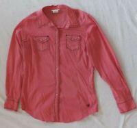 Ariat Women's Sz Medium Western Pink Pearl Snap Shirt LS Polka Dot Cowgirl Rodeo