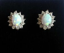 Quality Sterling silver Gilson Fire Opal sparkling CZ 12mm large stud earrings