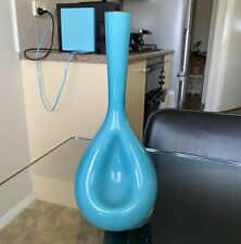 Vintage MID Century EMPOLI Turquoise BLUE White CASED Glass INDENTED Vase ITALY