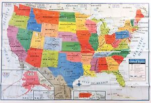 """USA US MAP Poster Size Wall Decoration Large MAP of United States 40""""x28"""" NEW U"""