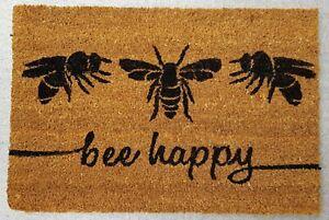 """""""Bee Happy""""  -  Natural Coir Rubber Back Non Slip Doormat (1)"""