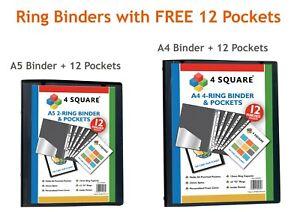 A5/A4 Presentation Ring Binder + 12 Clear Pockets Black Strong Ring Binder NEW