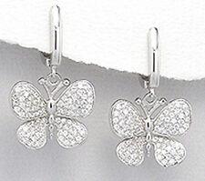 30mm Solid Sterling Silver CZ Butterfly Dangle Earrings 6.52g