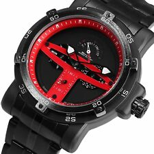 SHARK Creative Red Date Day Display Stainless Steel Strap Men Sports Wrist Watch