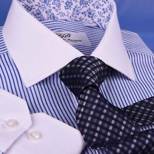 White Windsor Collar Light Blue Stripe Dress Shirt Luxury Men's Business Top