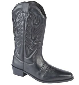 Mens Leather Pull On Black Western Cowboy Mid Calf Biker Casual Boots Shoes