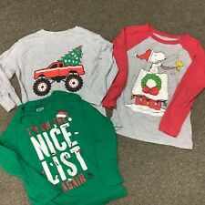 LOT OF 3 BOYS CHRISTMAS LONG SLEEVE SHIRTS SIZE 5 TODDLER GENTLY USED SNOOPY