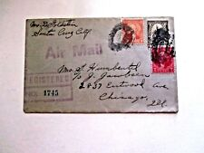 Airmail/Registered Us Cover, 1933, Ca to Il, Double Oval Cancels, Backstamp