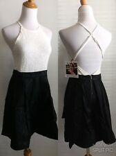 NEW W TAG MINKPINK WOMENS M MEDIUM BLACK FAUX LEATHER WHITE LACE COMBO DRESS A43