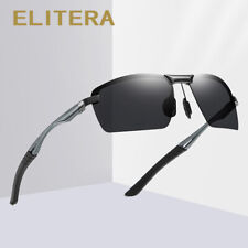 ELITERA Aluminum Mens Half Frame Polarized Sunglasses Shades Fashion Wrap Around