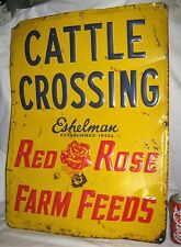 1963 RED ROSE FARM FEEDS CATTLE CROSSING COUNTRY ART ADVERTISING ESHELMAN SIGN