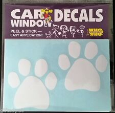 White Paw Prints Car Window Decals (2 Per Pack)