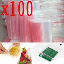100Stück  4 x 6cm Plastic Clear Zip Zipper Ziplock Reclosable Storage Bags Neu