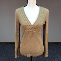 New York & Company Women's Gold Sparkle V-Neck Long Sleeve Sweater Size M