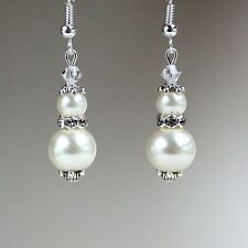 Cream ivory pearls vintage silver drop dangle earrings wedding bridesmaid gift