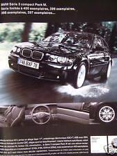 PUBLICITÉ 2002 BMW SÉRIE 3 COMPACT PACK M - ADVERTISING