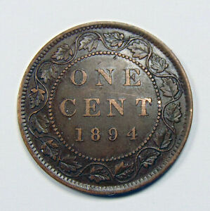 Canada 1894 Large Penny - Large 1 Cent Coin - EF40