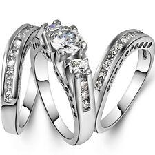 925 Silver Filled Wedding Engagement Ring 3 Pieces Set Size 5-11 Bridal Princess