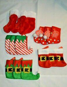 "U PICK 3X MINI Christmas STOCKING RED Plush SANTA Polka DOT STRIPED 5"" Gift CARD"
