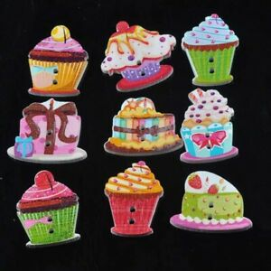 20 Pcs Wooden Cake Buttons Mixed Colour cake Pattern Decorative Buttons 2 Holes