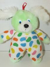 Small plush green puppy dog bunny jellybean outfit white ears vintage ACME