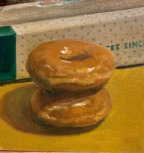 Krispy Kreme Donuts And Box still life Original Oil Painting
