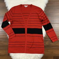 Exclusively Misook Women's Size Large Red Black Striped Open Cardigan Sweater