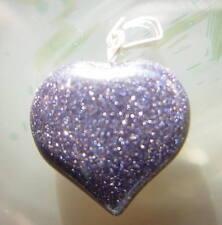 Blue Goldstone Crystal Wide Fat Heart Pendant Reiki Blessed in Gift Bag