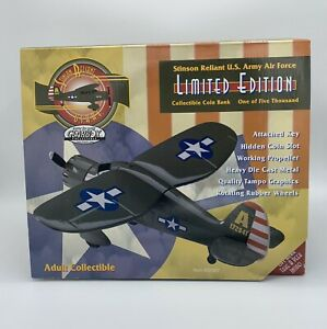 Gearbox U.S. Army Air Force Stinson Reliant Collectible Coin Bank (NIB 1997)