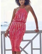New *Next* (size Uk 10 Petite) Orange / Coral Chiffon Sequined  Dress ,