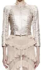 Alexander McQueen Rose Blush Cropped Corset Tie Up Lambskin Leather Jacket 42