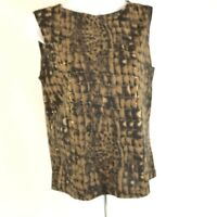 Gallery Limited  Womens Sleeveless Blouse Top Size Medium Animal Print