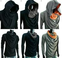 New Men turtle COWL Neck HOODIE long sleeve shirt T-SHIRT gym sz S M L XL XXL