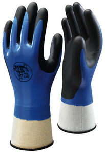 10 Pairs SHOWA 377 Fully Coated Nitrile Foam Grip Gloves- Water & Oil Protection