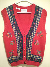 "Vintage Tacky Ugly Christmas Sweater - Large Red ""Flower Power"" Winning Vest !!!"